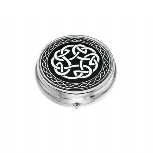 Large Pill Box Silver Plated Celtic Knot Black Brand New & Boxed